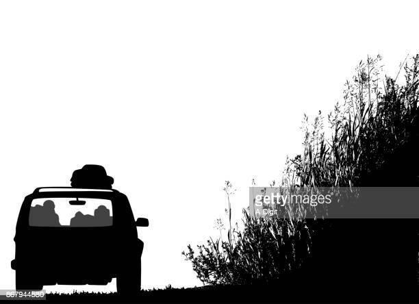 road trip grassy banks - suv stock illustrations, clip art, cartoons, & icons