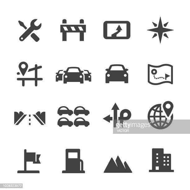 road trip icons - acme series - electric vehicle charging station stock illustrations