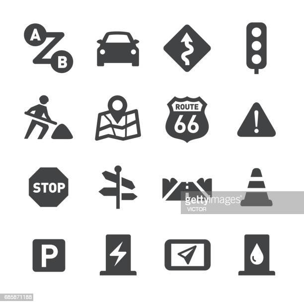 road trip icons - acme series - parking sign stock illustrations