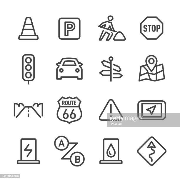 road trip icons - line series - directional sign stock illustrations
