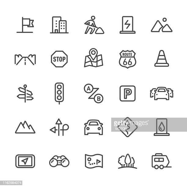 road trip icons - smart line series - parking sign stock illustrations