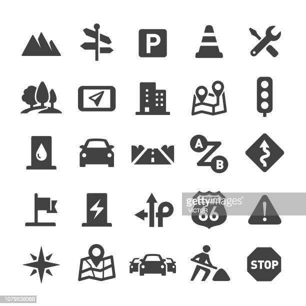 road trip icons - smart series - road intersection stock illustrations