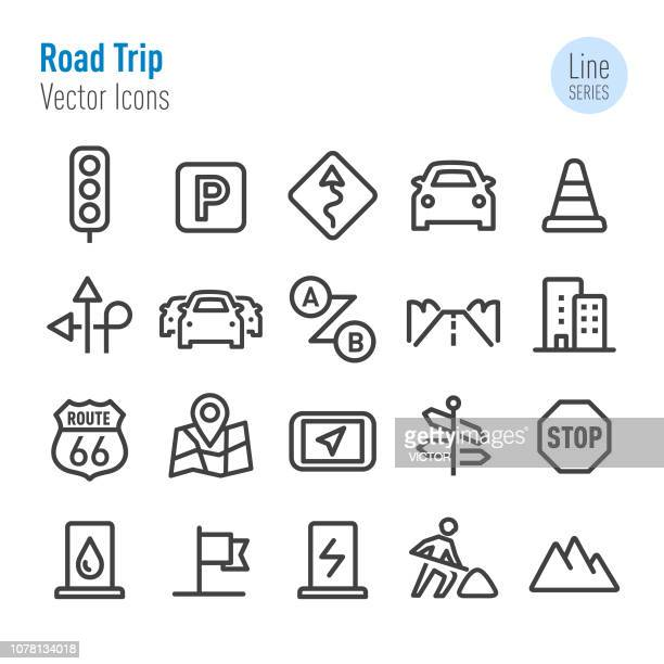 road trip icons - vector line series - parking sign stock illustrations