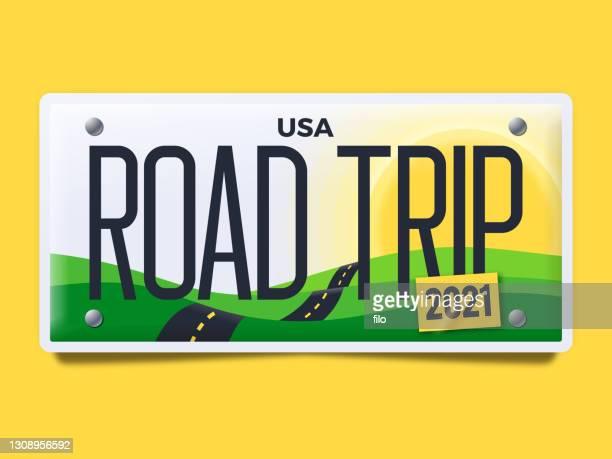 illustrations, cliparts, dessins animés et icônes de plaque d'immatriculation road trip - permis de conduire