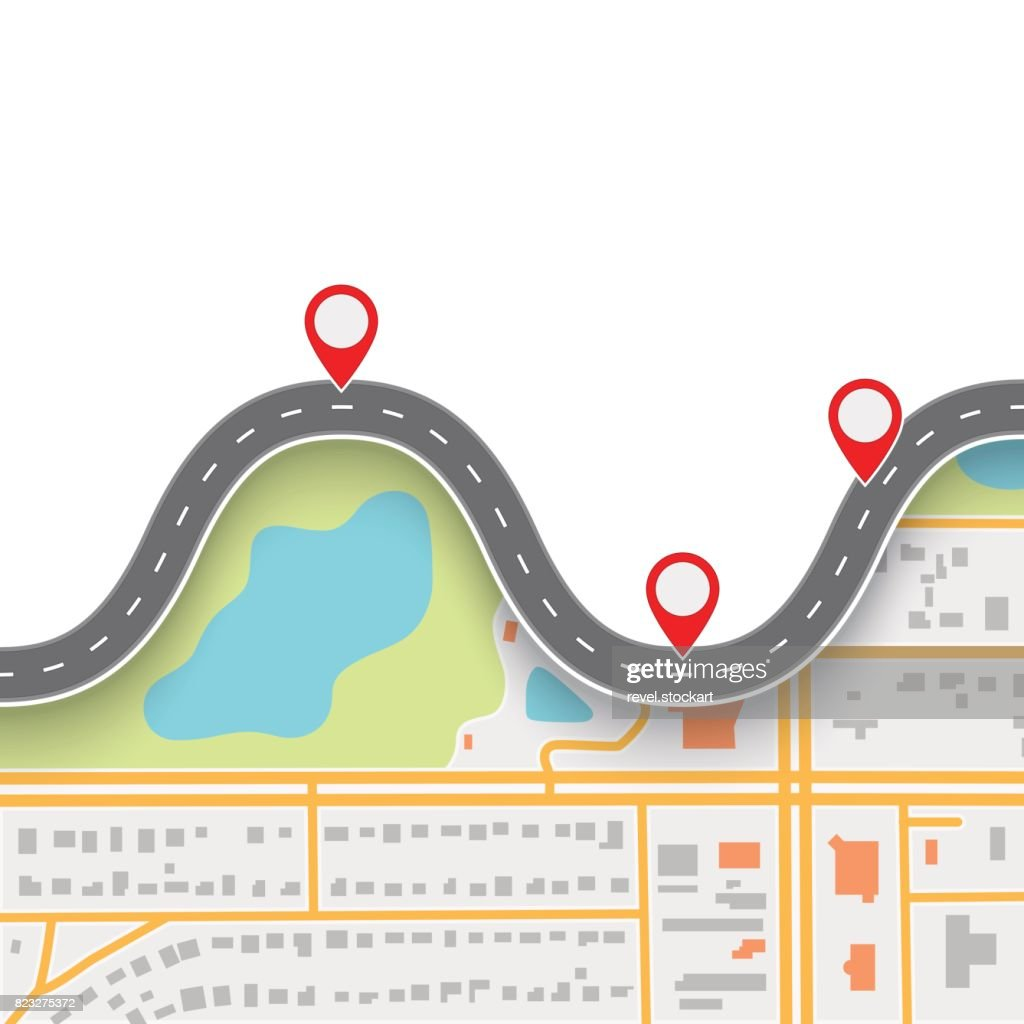 Road trip route. Winding Road on GPS navigation abstract map