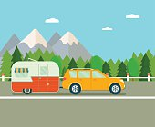 Road trip. Travel trailer and suv. Flat vector illustration