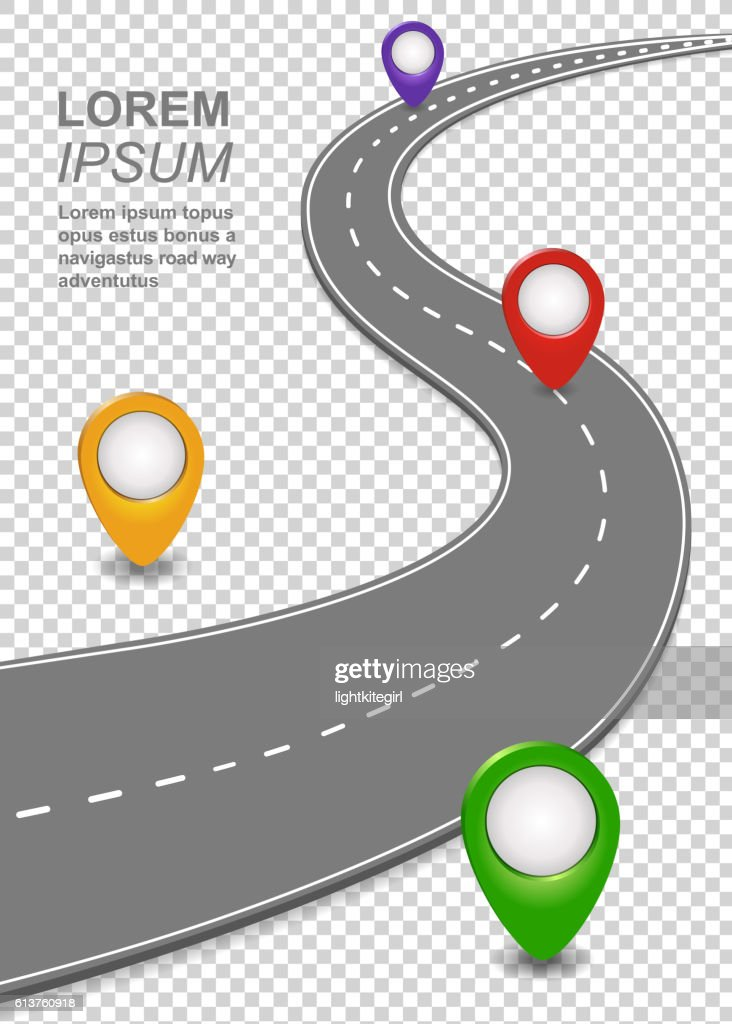 Road way navigation infographic. Highway Template