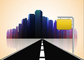 Road way to city buildings background