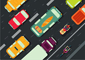 Road with cars top view. City traffic. Flat style illustration.