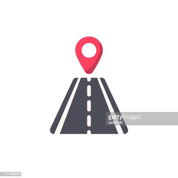 ロケータフラットアイコン付き道路。ピクセルパーフェクト。モバイルと web 用。 - 副操縦士点のイラスト素材/クリップアート素材/マンガ素材/アイコン素材