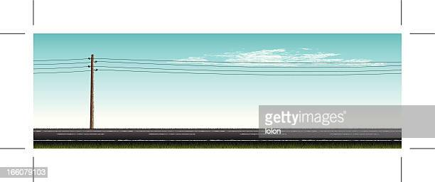 stockillustraties, clipart, cartoons en iconen met road with vintage power pole and clouds - lolon