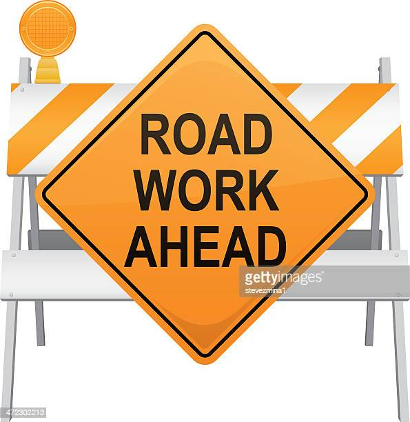road work ahead construction sign - road construction stock illustrations