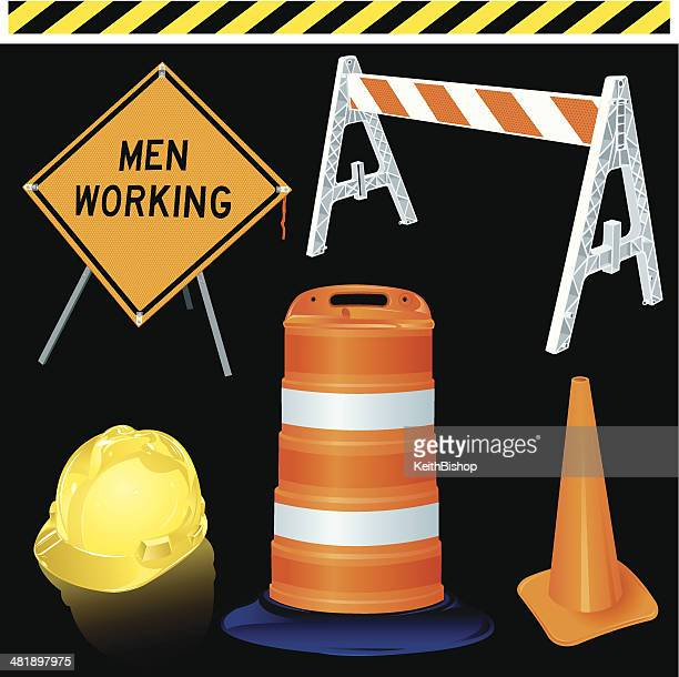 Road Work Equipment - Hardhat, Information Sign, Barrier