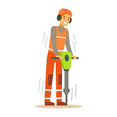 Road Worker In Headphones Working With Jackhammer , Part Of Roadworks And Construction Site Series Of Vector Illustrations
