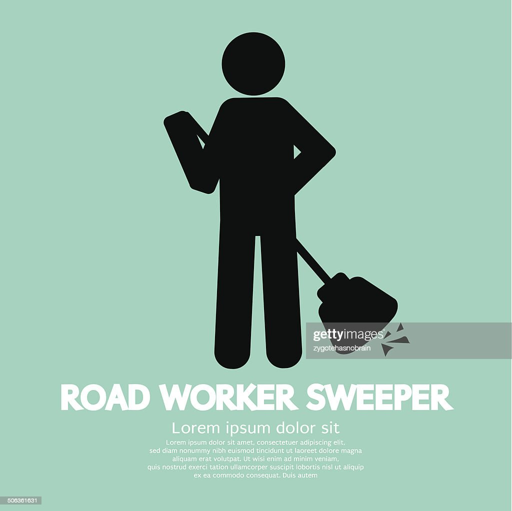 Road Worker Sweeper Vector Illustration