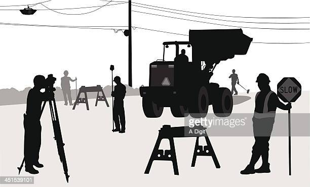 road workers - road construction stock illustrations