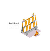 road works, drawing with a low polygon, vector illustrations, isometric graphics, web server repair
