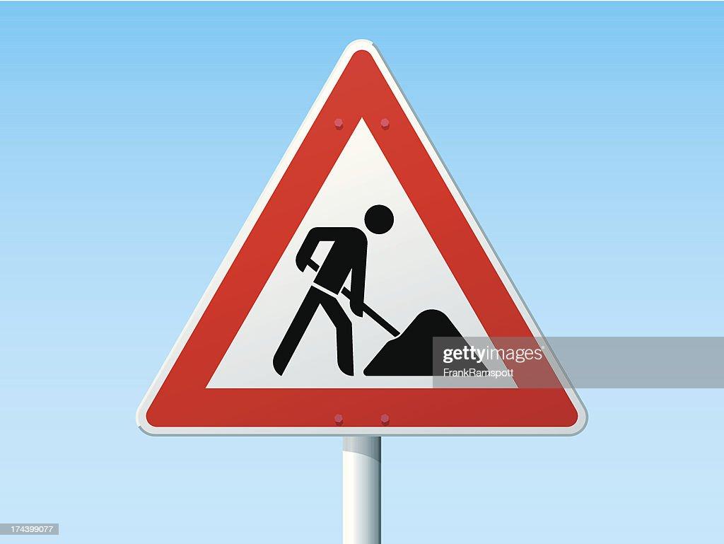 Straßenarbeiten deutsche Warnschild : Stock-Illustration