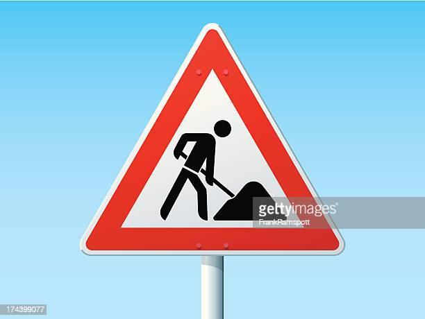 road works german warning sign - road construction stock illustrations