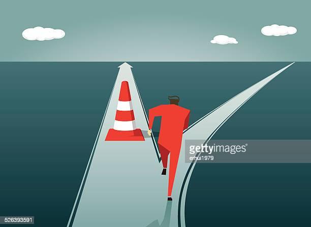 road から、方向、highway 、逆境を乗り越える、チャレンジ - バリケード点のイラスト素材/クリップアート素材/マンガ素材/アイコン素材