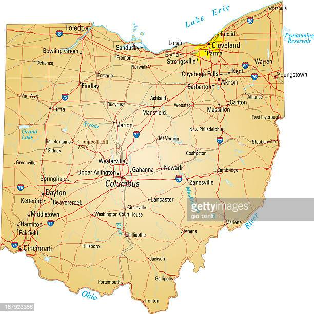 roadmap of ohio on white background - ohio stock illustrations