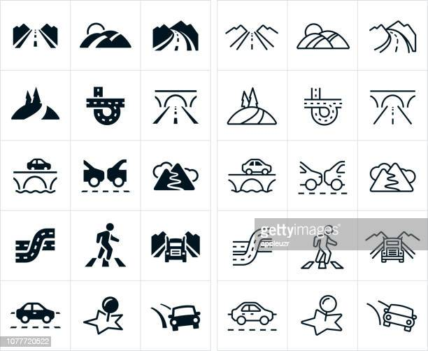 roads icons - road marking stock illustrations