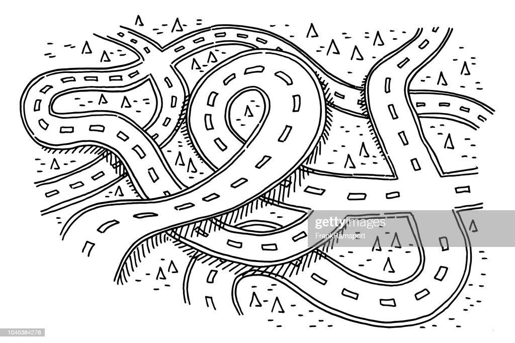 Straßen-Landschaft Zeichnung : Stock-Illustration