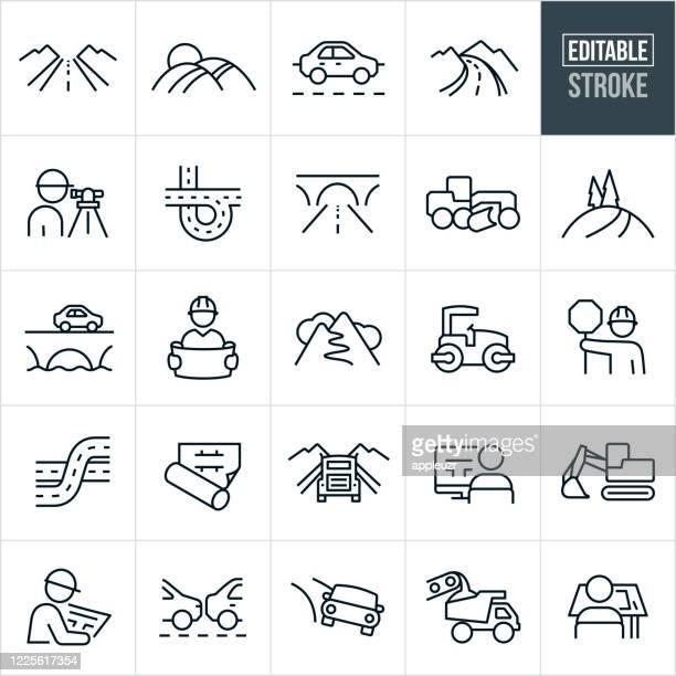 roads thin line icons - editable stroke - land stock illustrations