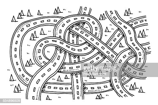 Roads View From Above Transportation Drawing Vector Art