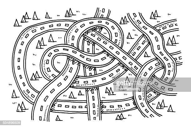 roads view from above transportation drawing - complexity stock illustrations
