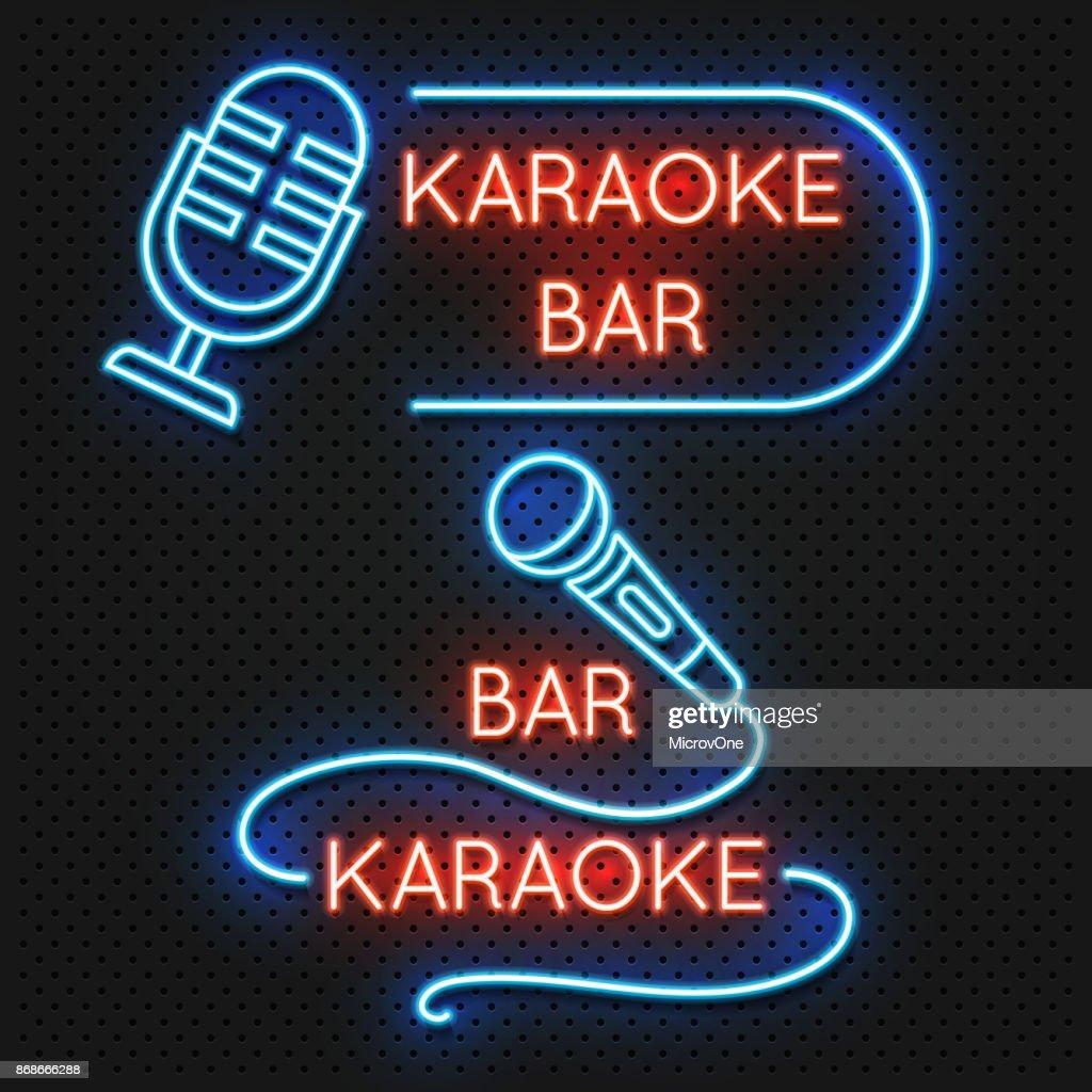 Roadside karaoke night club vector signboard isolated