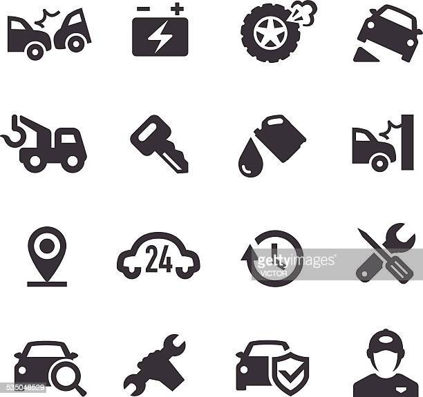 roadside services icons - acme series - misfortune stock illustrations, clip art, cartoons, & icons