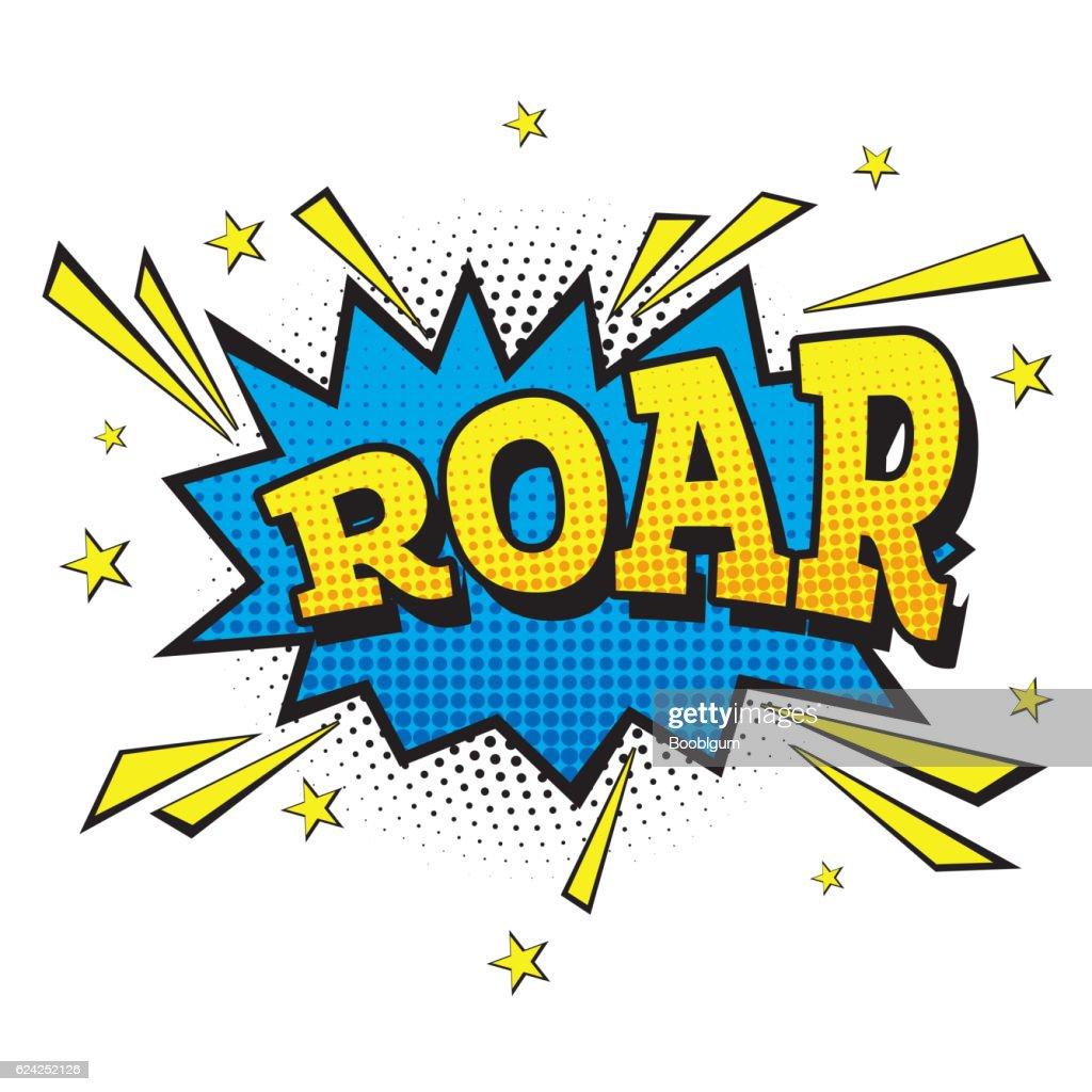Roar. Comic Text in Pop Art Style.