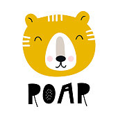 Roar - Cute hand drawn nursery poster with cartoon tiger and lettering in scandinavian style.