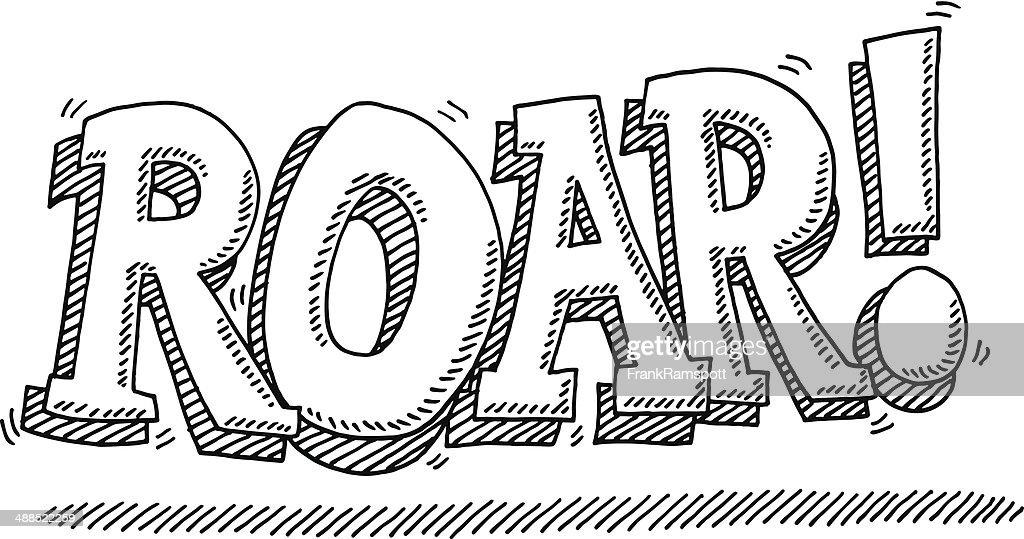 Roar! Lion Noise Comic Text Drawing