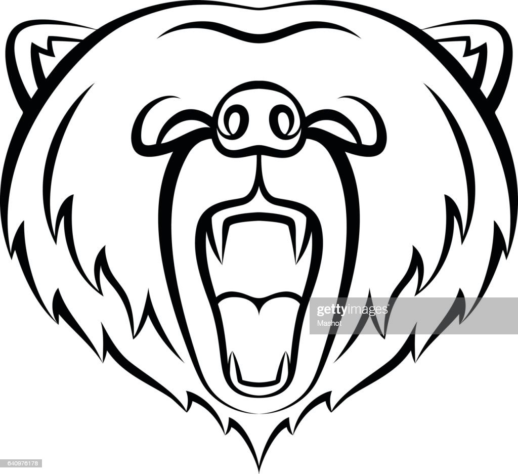 Roaring bear icon isolated on a white background.