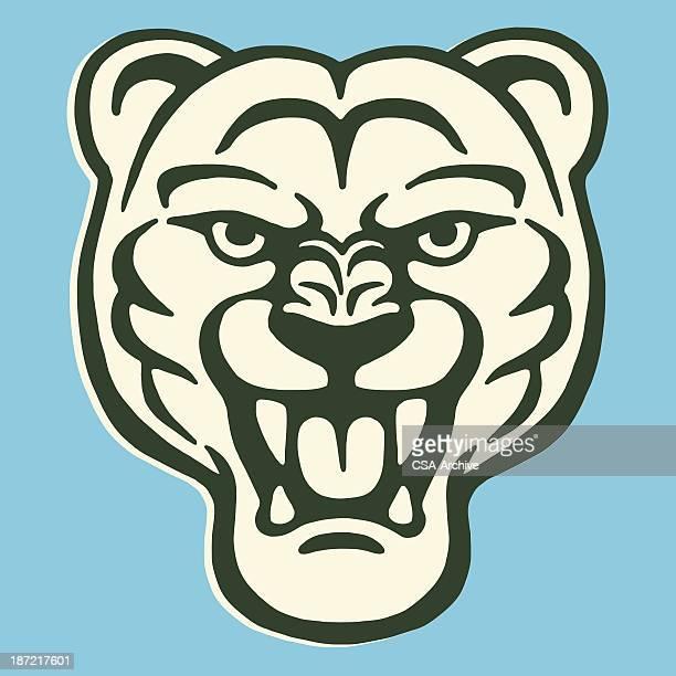 ilustraciones, imágenes clip art, dibujos animados e iconos de stock de roaring felino grande - puma