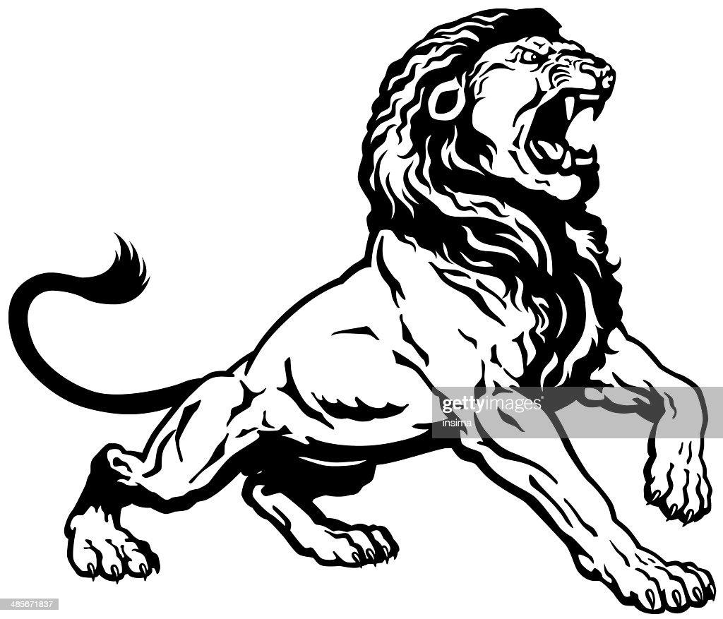 roaring lion black white