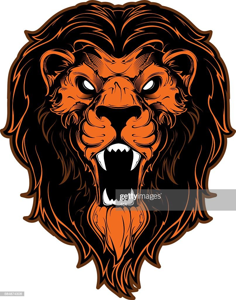 Roaring lion head mascot. Vector illustration.