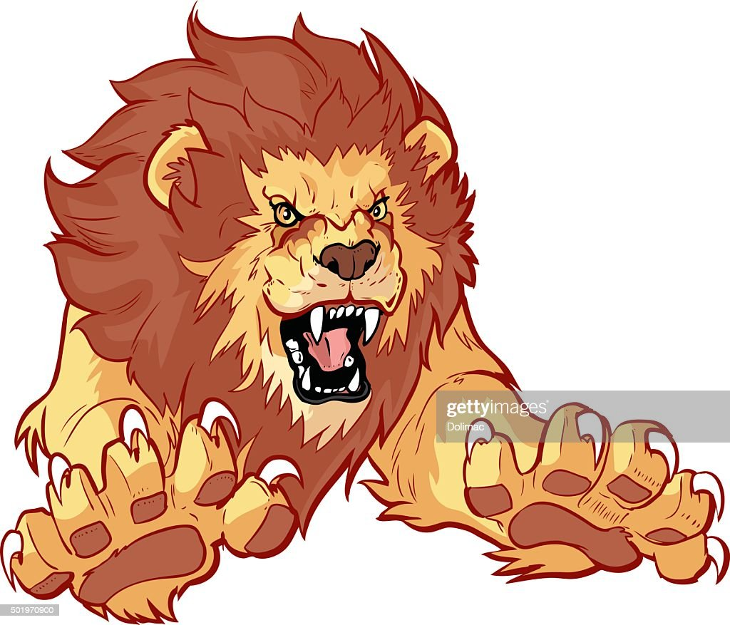Roaring Lion Leaping Forward Vector Illustration