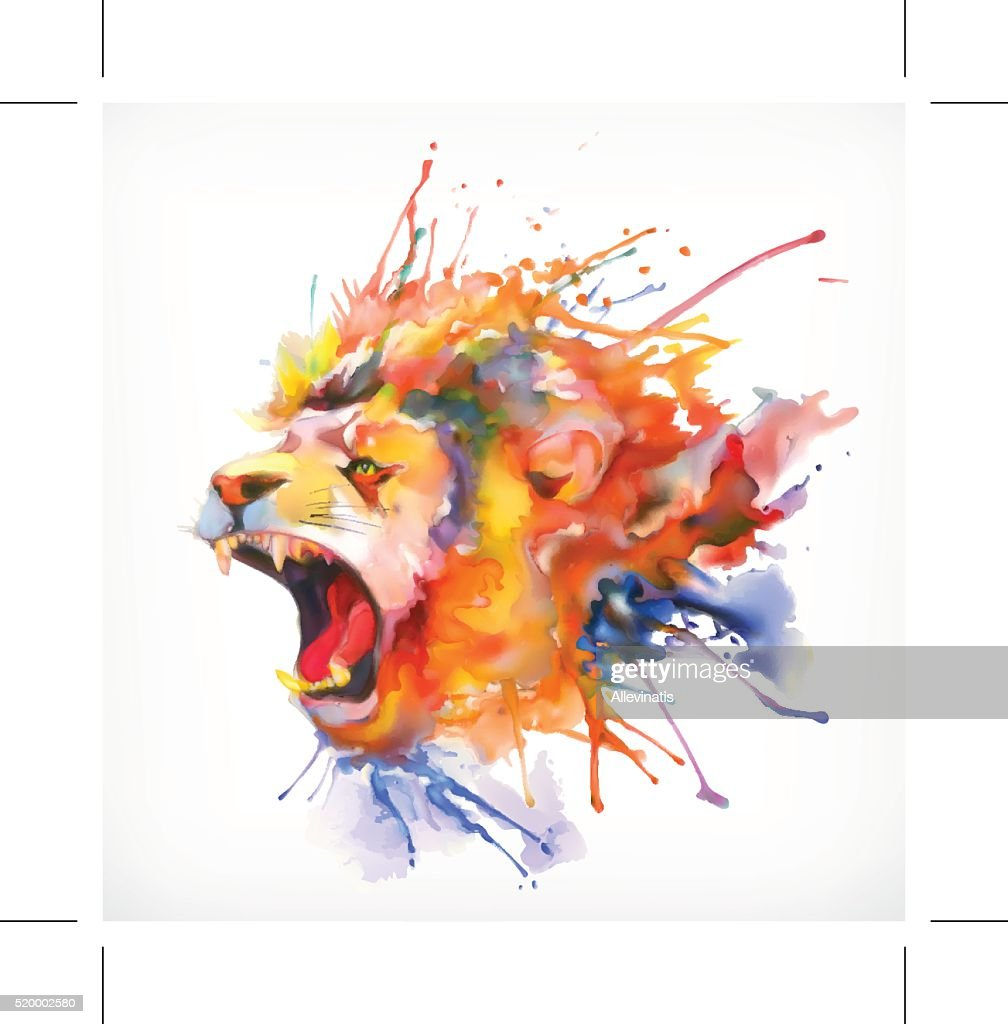 Roaring lion vector illustration