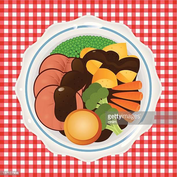 ローストビーフ日曜日の夕食 - ロースト点のイラスト素材/クリップアート素材/マンガ素材/アイコン素材