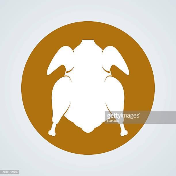 Roast chicken icon vector