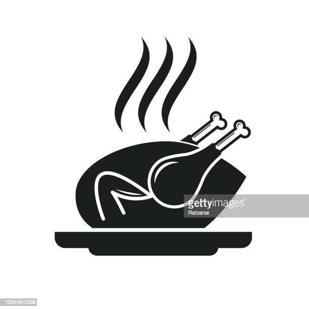 ilustraciones, imágenes clip art, dibujos animados e iconos de stock de pollo asado - pollo asado