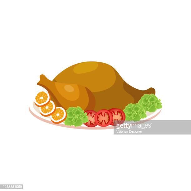 ilustraciones, imágenes clip art, dibujos animados e iconos de stock de pájaro asado en un plato-ilustración - pollo asado