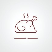 Roasted chicken icon, Vector sign logo illustration
