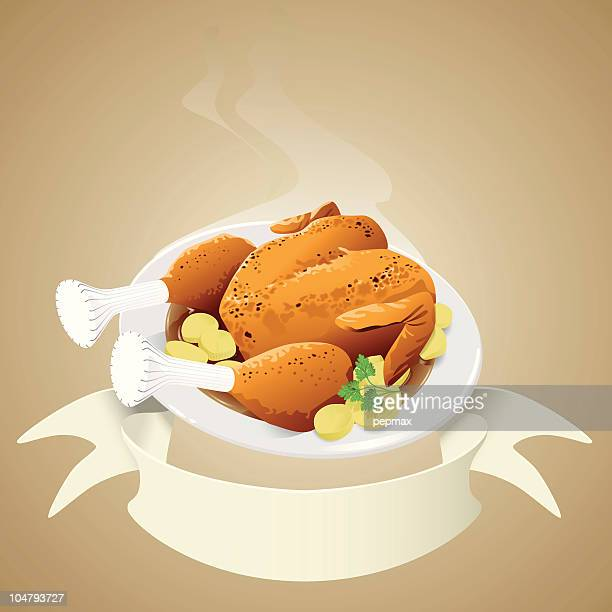 roasted chicken with banner