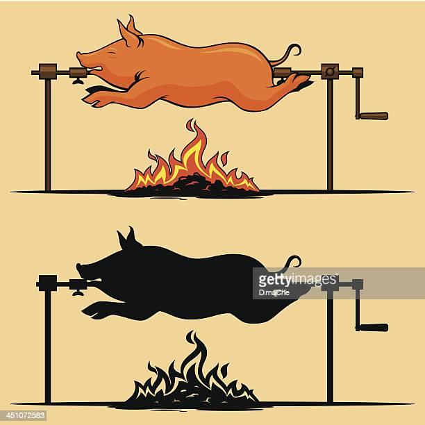 bbq roasted pig - pig stock illustrations