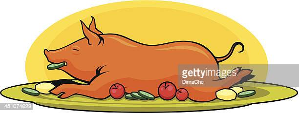roasted pork - painting art product stock illustrations