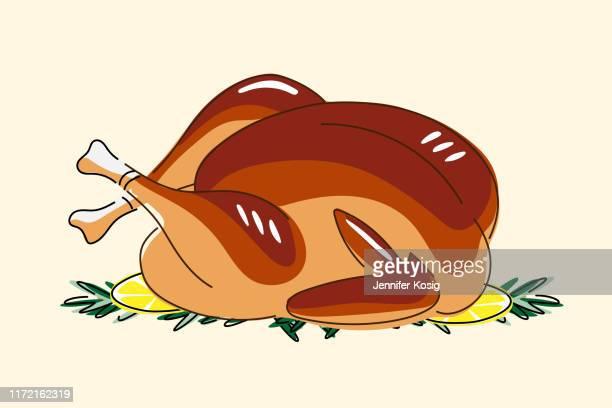 ilustraciones, imágenes clip art, dibujos animados e iconos de stock de ilustración de pavo asado - pollo asado